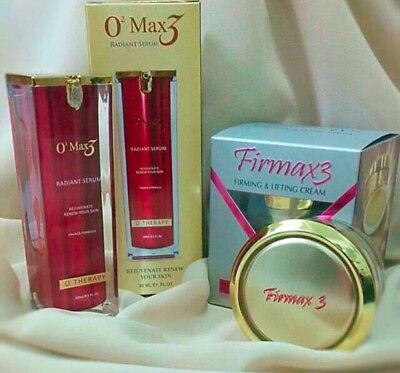 Authentic Nanotechnology Firmax3 Miracle Cream+O2Max3 Radiant Serum Antiaging Fs