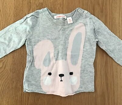 COUNTRY ROAD Knitted Grey Bunny Jumper. Size 00 (3-6 Months)
