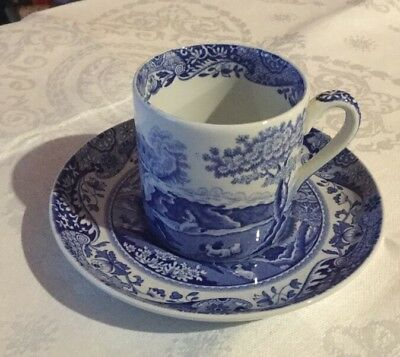 Spode Blue Italian Coffee Cup & Saucer.Made in England.Blue & White.