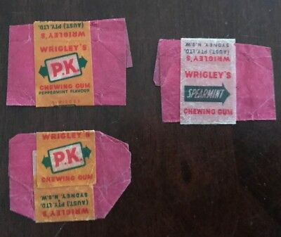 PK And Spearmint  Miniature Chewing Gum Empty Packets(3). Sydney.