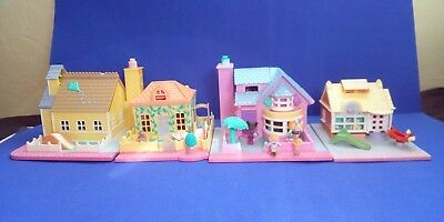 Vintage Polly Pocket Bundle houses 1993 Bay Window House with figures and others