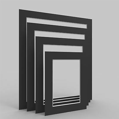 Black Picture Photo Frame Mounts Bevel Cut Mount pack of 4, 8, 12 and 24