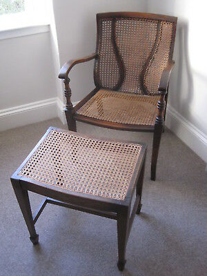 Antique Bergere Arts and Crafts/Art Nouveau Accent Chair with Footstool