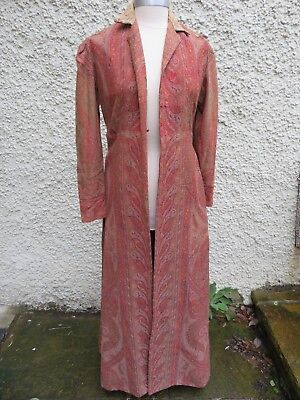 Vintage woven Paisley Gown or Housecoat-shabby chic-boho elegance