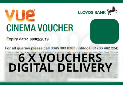 6 Club Lloyds Vue Cinema Vouchers. (Expiry Date: 09/02/19) Fast Digital Delivery