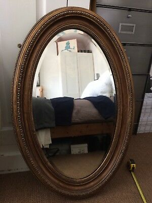 Large Vintage Oval Wooden Mirror With Slight Gild Appearance
