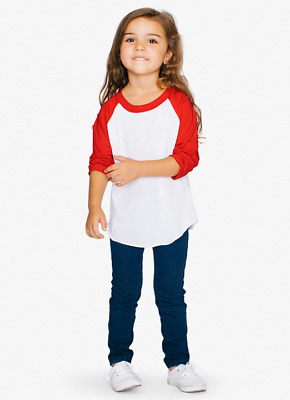 KIDS T Shirts Baseball RAGLAN Tee 3/4 Sleeve Jersey Boys Girls Baby Shaka Active