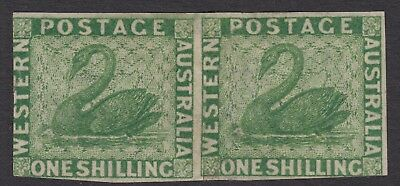Western Australia 1865 1/- green crown CC watermark imperforate plate proof pair