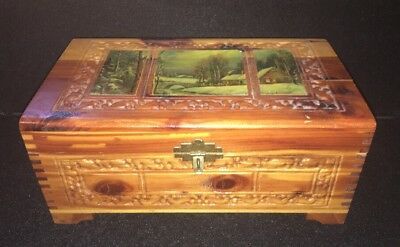 Vintage Wooden Cedar Jewelry Box With A Picture And Carvings