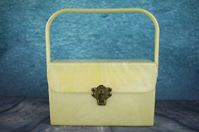 Vintage 1950 Swirled Clotted Cream Colour Lucite Box Bag Brass Flip Catch