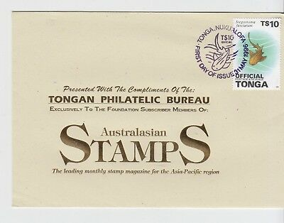TONGA 1996 Philatelic Bureau Cover with OFFICIAL Sea Life Stamp