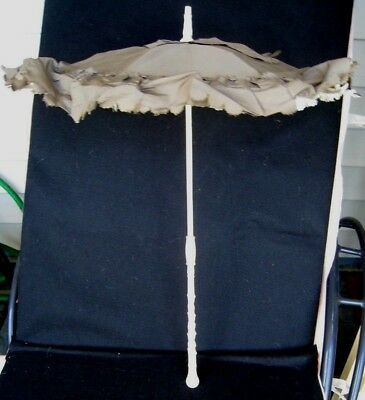 Antique Victorian French Parasol...with Ivory Color Ornate Carved Shaft...1880's