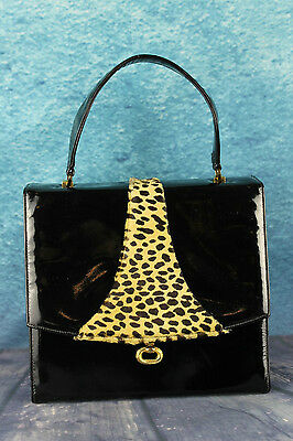 Vintage O Connor & Goldberg 1960s Leopard Animal Print Cowhide Box Bag Handbag
