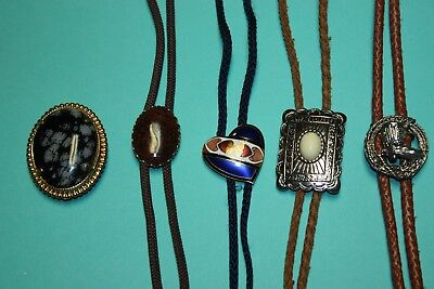 4 Vintage Bolos And A Snowflake Jasper Cabochon Slide That Needs The Strings