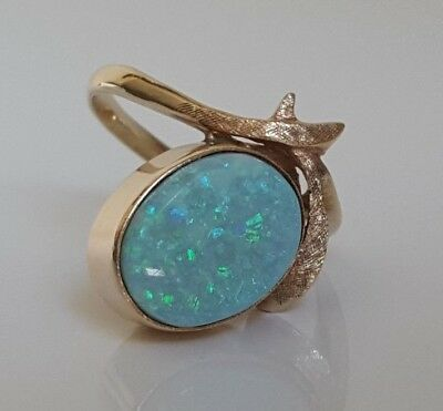 9k Solid Gold Opal Ring 3.83g size Q