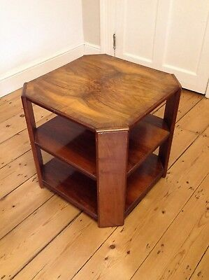 Vintage Art Deco side table - wooden, with shelf