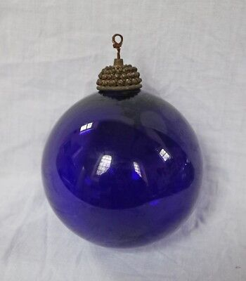 Antique Bristol Blue Glass Witches Ball with original reticulated brass collar