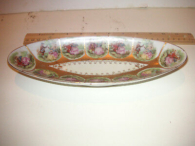 Vintage Arnart? Courting Colonial Couples Scenes Oval Porcelain Candy Soap Dish