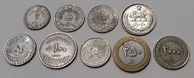 9 different coins all from the same Middle East country 2 Rials to 2,000 Rials