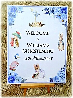 Large Personalised Beatrix Potter Peter Rabbit Party/Christening Welcome Sign