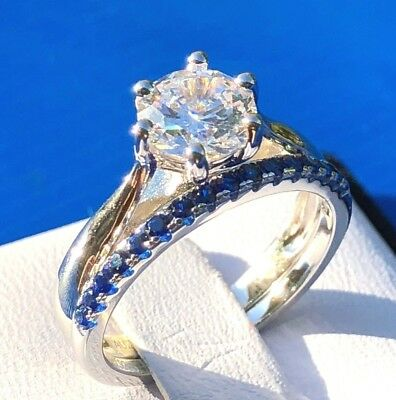 2pc Bridal Set: Created Sapphire,  Simulated Diamond Engagement Wedding Ring Set