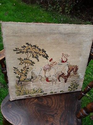 Antique handsewn embroidered woolwork tapestry