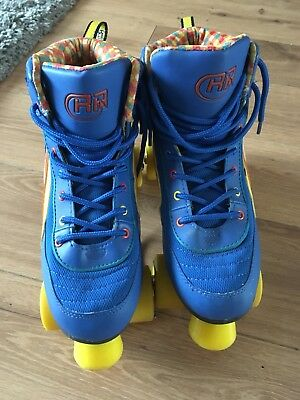 Rio Roller Size 7 Roller Skates/Boots Blue With Yellow Wheels
