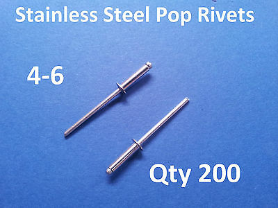 200 POP RIVETS STAINLESS STEEL BLIND DOME 4-6 3.2mm x 12.5mm 1/8""