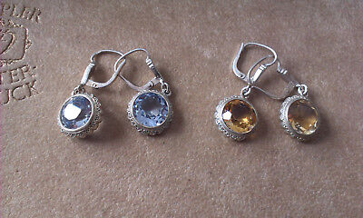 Vintage Silver Earings with stones - 2 pairs. Marked 835 (Lot B)
