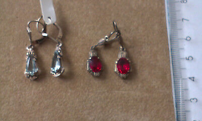Vintage Silver Earings with stones - 2 pairs. Marked 835 (Lot F)
