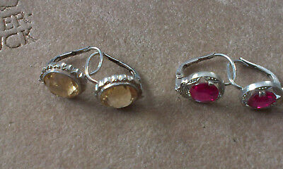 Vintage Silver Earings with stones - 2 pairs. Marked 800 (Lot G)