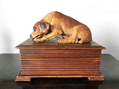 Brienz / Black Forest Box with Carved Dog Figure Finial