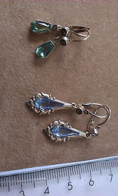 Vintage Silver Earings with stones - 2 pairs. Marked 800 (Lot J)