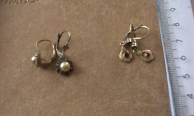 Vintage Silver Earings with stones - 2 pairs. Marked 800 (Lot K)