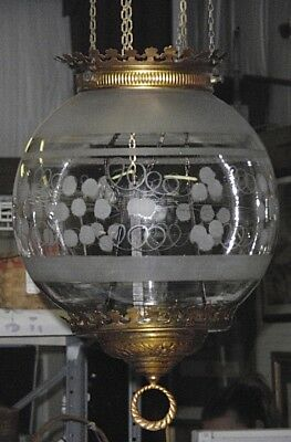 Victorian Antique Grape Etched Glass Globe Hanging Hall Lamp Chandelier