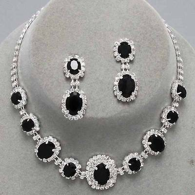 Black rhinestone crystal necklace set brides proms party fiamante sparkly 249