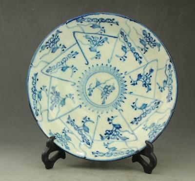 Chinese old Hand painted flower pattern Blue and white porcelain  plate