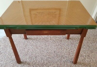 Kitchen Table, Enamel Top, Expands, 1930s With Drawer, Good Vintage Condition