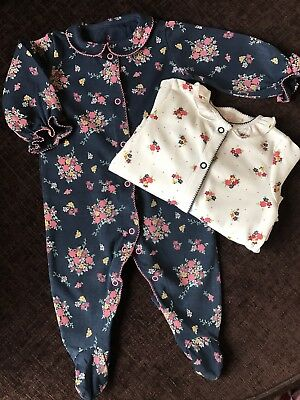 Next Baby Girl Frill Neck Cuffs Floral Print 2 x Sleepsuits 3-6mths