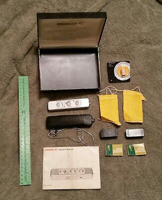 Vintage Minox C Subminiature Spy Camera w/Box, Case, Chain, Manual, Film Bags