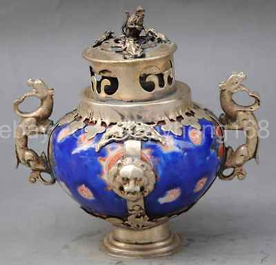 Chinese Dynasty Miao Silver porcelain Incense Burner Censer monkey Beast lion