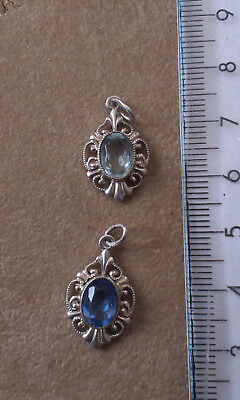Vintage Silver Pendants with stones x 2 . Marked 835 (Lot 9)