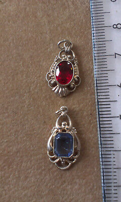 Vintage Silver Pendants with stones x 2 . Marked 835 (Lot 10)