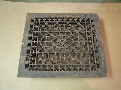 Antique Victorian Tuttle & Bailey Cast Iron Floor Register Grate & Louvers 10x12