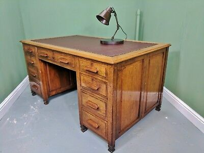 An Antique Edwardian Oak Deep Captains Desk ~Delivery Available~