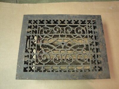 Antique Victorian Tuttle & Bailey Cast Iron Floor Register Grate & Louvers 9x12