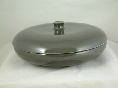 Russel Wright Iroquois Redesigned covered divided vegetable bowl dish Charcoal