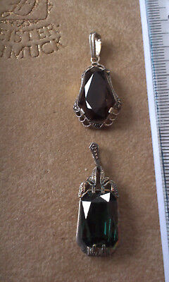 Vintage Silver Pendants with stones x 2 . Marked 835 (Lot 19)