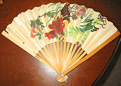 "Vintage 13"" Paper Fan Taiwan Chicken & Rooster Picture Bamboo Spines Rice Paper?"