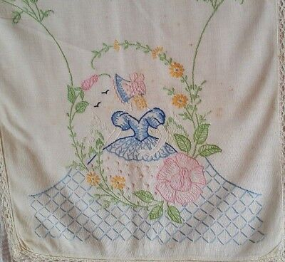 Antique Hand Stitched  Embroidered Victorian Girl Runner Lace [E7] 42-1/2'' x 14